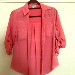 Express coral button down shirt